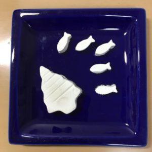 手作りアロマストーン木と魚